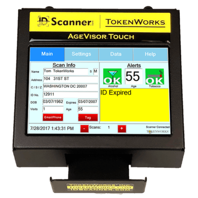 agevisor touch stationary id scanner with data on screen
