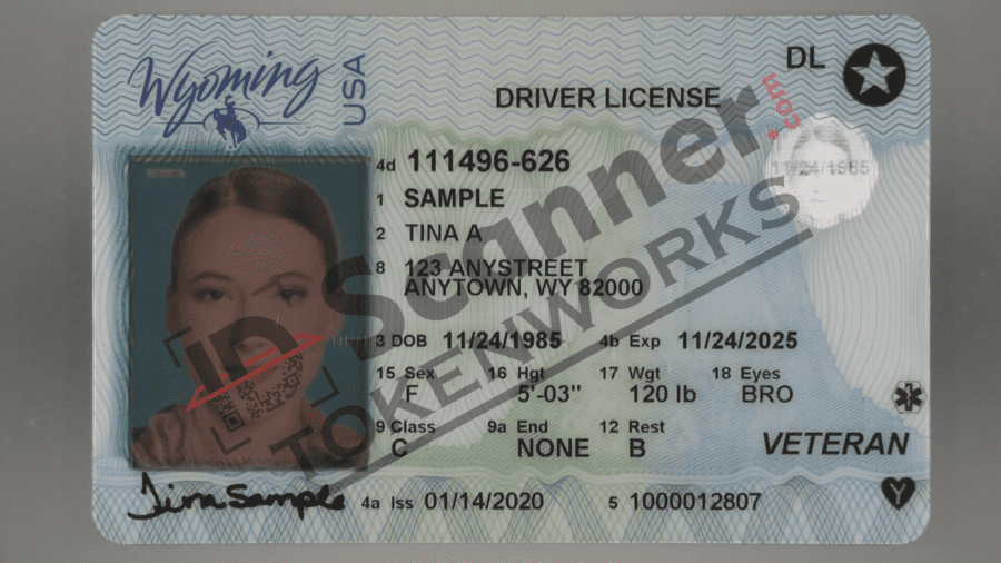 Wyoming new driver license with REAL ID and other security features