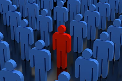 Graphic of Blue People Standing with One Red Person